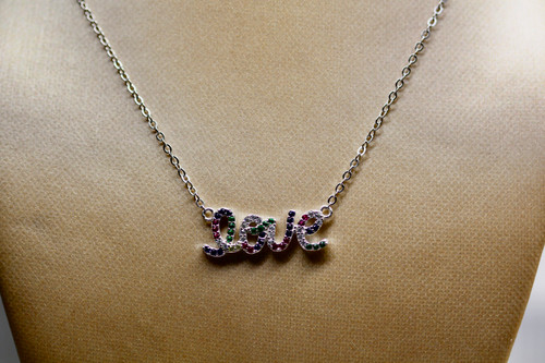 Sterling Silver Diamond Love Pendant