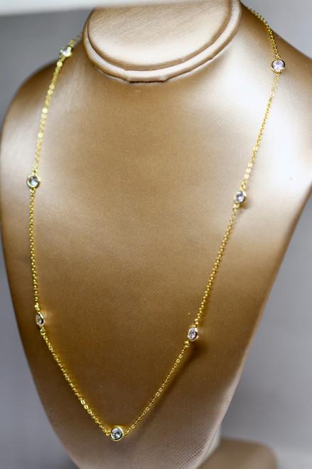 14k Handmade Gold Diamond Station Necklace