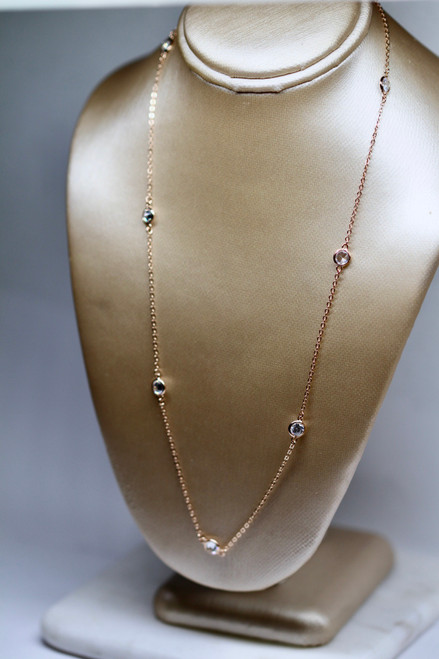 Unique 14k Rose Gold Diamond Necklace