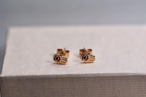 Handmade 14K Rose Gold Hamsa Stud Earring