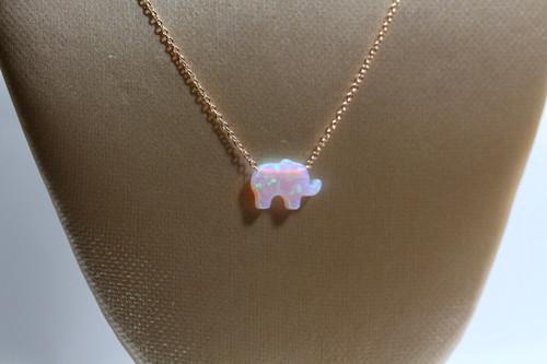 14k Rose Gold Chain Elephant Opal Pendant