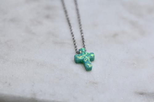 Sterling Silver Green Opal Cross Necklace