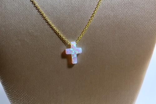 Handmade 14K Yellow Gold White Opal Cross Necklace