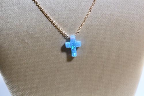 Handmade 14K Rose Gold Blue Opal Cross Necklace