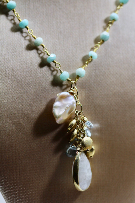 14K Yellow Gold Handmade Gemstone Necklace