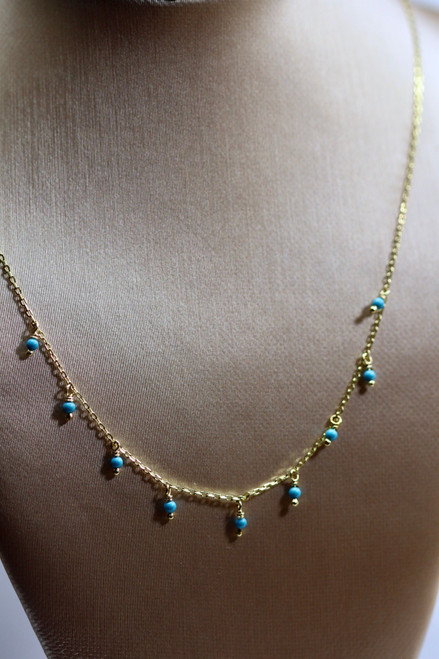 Unique 14K Yellow Gold Turquoise Necklace