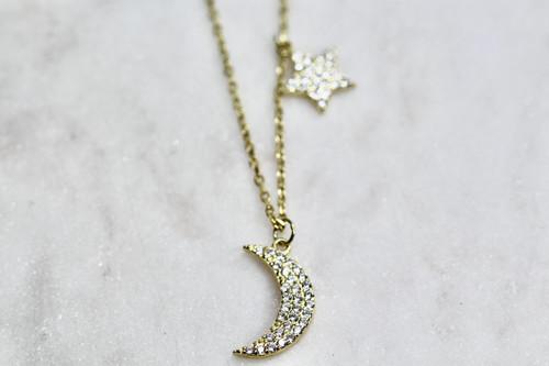 14K Yellow Gold Handmade Diamond Moon & Star Necklace