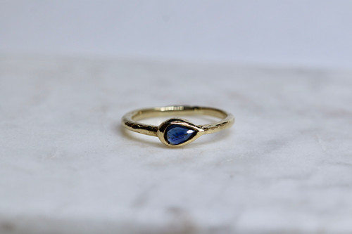 Handmade 14K Yellow Gold Rose Cut Sapphire Ring