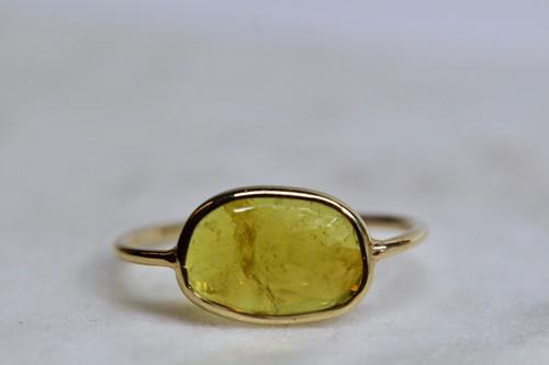 14K Yellow Gold Yellow Tourmaline Handmade Ring