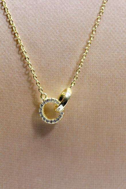 14k yellow gold diamond infinity necklace