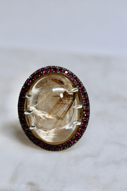Handmade Sterling Silver Rutilated Quartz Ruby Ring