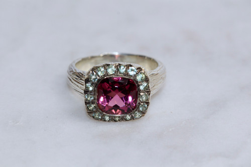 925 Sterling Silver Pink Tourmaline and Green Sapphire Cocktail Ring, Handmade Sterling Silver Cocktail Ring, Unique Pink Tourmaline Ring