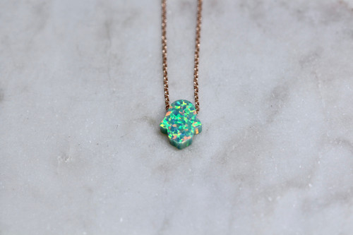 14K Rose Gold Green Opal Hamsa Pendant