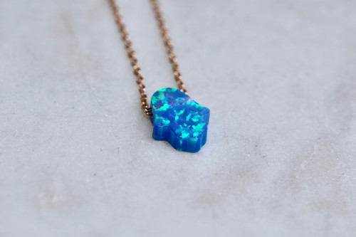14K Rose Gold Handmade Blue Opal Hamsa Necklace
