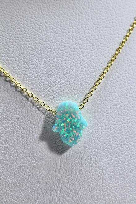 Unique 14K Yellow Gold Green Opal Hamsa Pendant