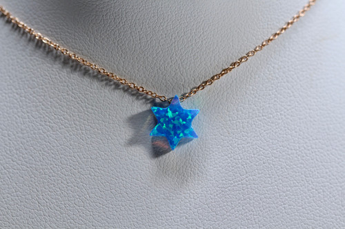Handmade 14K Rose Gold Blue Star Of David Opal Necklace
