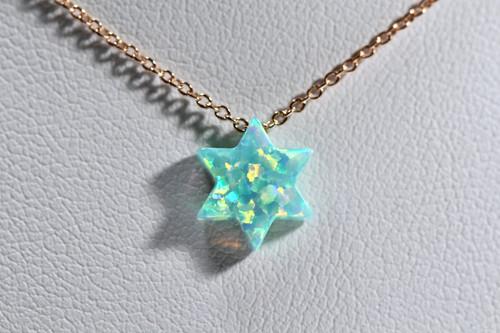 Unique 14K Rose Gold Green Opal Star Of David Pendant
