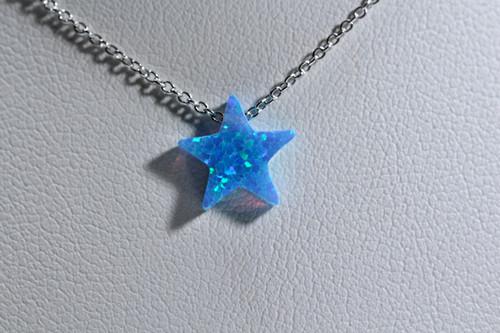 Unique Blue Star Opal Necklace