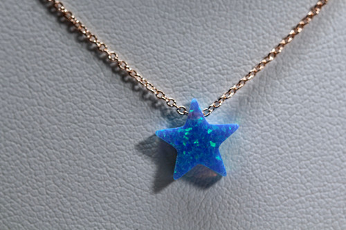 Unique 14K Rose Gold Blue Opal Star Necklace