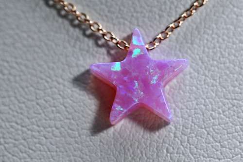 Handmade 14K Rose Gold Pink Opal Star Pendant
