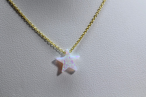 Unique 14K Yellow Gold White Opal Star Necklace