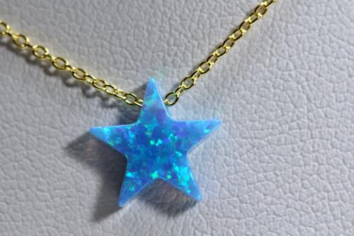 Handmade 14K Yellow Gold Blue Opal Star Necklace