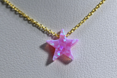 Dainty 14K Yellow Gold Pink Star Opal Necklace