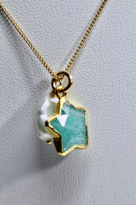 Handmade 14K Gold Filled Amazonite & Keshi Pearl Gemstone Necklace