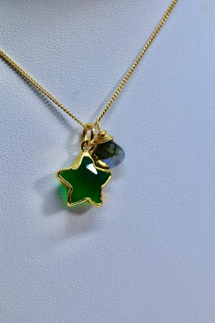 14K Gold Filled Green Onyx Star Pendant