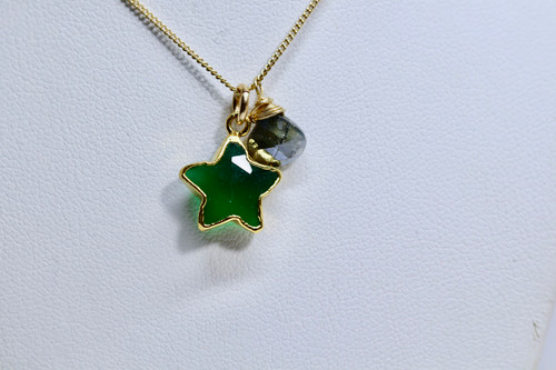 14K Gold Filled Green Onyx Silverite Necklace