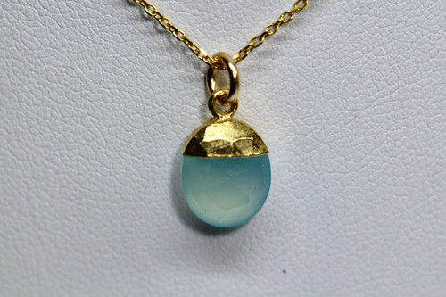 Handmade 14K Yellow Gold Aqua Chalcedony Necklace