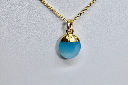 14K Handmade 14K Yellow Gold Blue Chalcedony Necklace