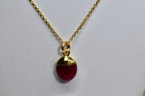 14K Yellow Gold Ruby Gemstone Necklace