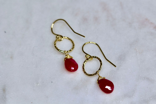 Handmade 14K Yellow Gold Ruby Earring
