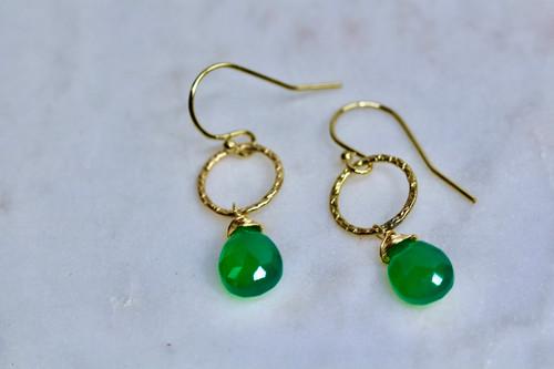 14K Yellow Gold Green Onyx Earring