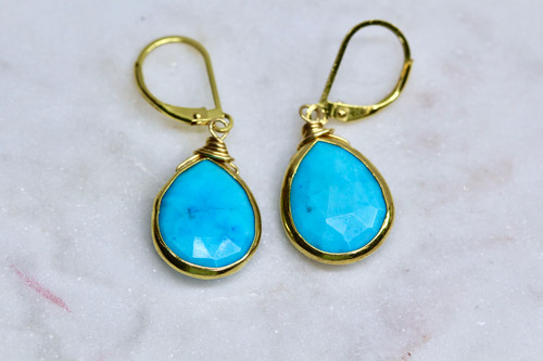 Handmade 14K Yellow Gold Turquoise Earrings