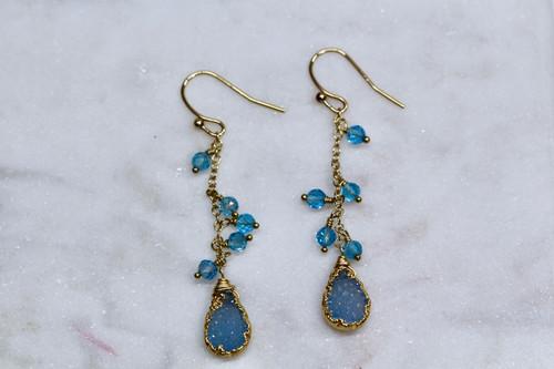 14K Yellow Gold Blue Topaz Druzy Earring
