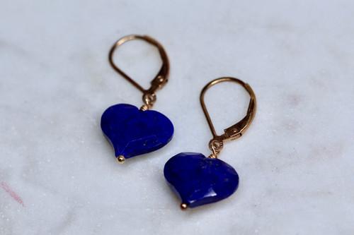 Handmade 14K Rose Gold Lapis Lazuli Heart Shaped Earring