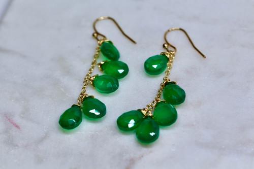 14K Handmade Yellow Gold Green Onyx Earring