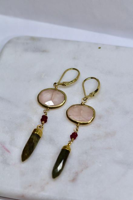 Handmade 14K Yellow Gold Ruby Rose Quartz Labradorite Earring