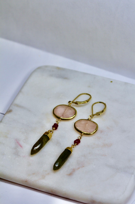 Gorgeous 14K Yellow Gold Rose Quartz Earring
