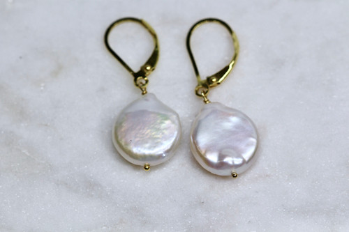 14K Yellow Gold Pearl Earring
