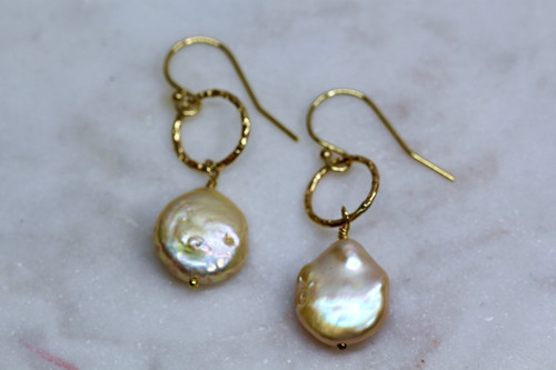 Handmade 14K Yellow Gold Pearl Earring