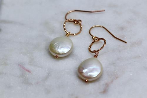 Handmade 14K Rose Gold Pearl Earring