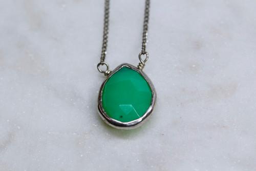 Sterling Silver Green Gemstone Pendant