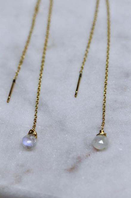 Handmade 14K Yellow Gold Moonstone Chain Earring