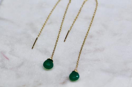Handmade 14K Yellow Gold Green Onyx Earrings