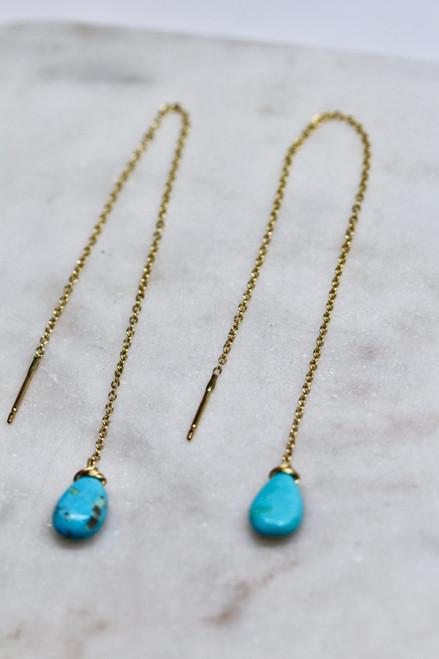 Handmade 14K Yellow Gold Turquoise Chain Threaders