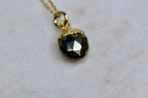 14K Yellow Gold Pyrite Pendant