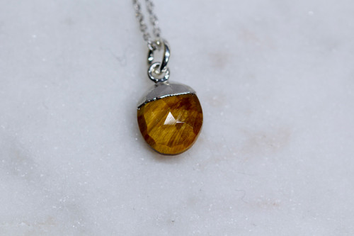 Handmade Sterling Silver 925 Tigers Eye Necklace